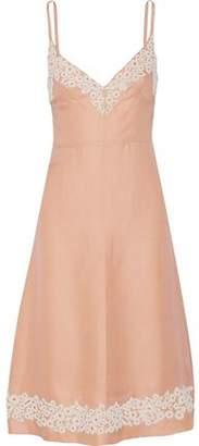Valentino Bead-Embellished Basketweave Silk Midi Dress