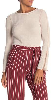 Elodie Waffle Knit Zipper Cuff Tee