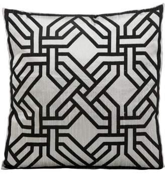 "Nourison Modern Chain Decorative Throw Pillow, 18"" x 18"", Silver/Black"