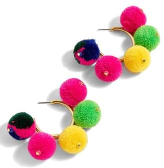 J.Crew Pompom Hoop Earrings