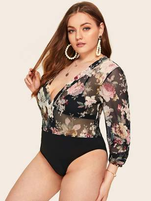Shein Plus Deep V Neck Sheer Floral Print Bodysuit