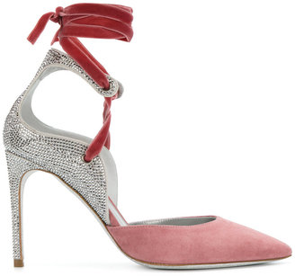 ankle strap sequined pumps