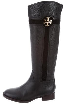 Tory Burch Tory Burch Suede-Trimmed Leather Knee-High Boots