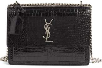 Saint Laurent 'Medium Monogram Sunset' Croc Embossed Leather Shoulder Bag
