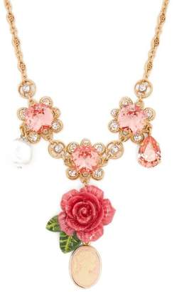 Dolce & Gabbana Floral, Crystal And Charm Necklace - Womens - Pink