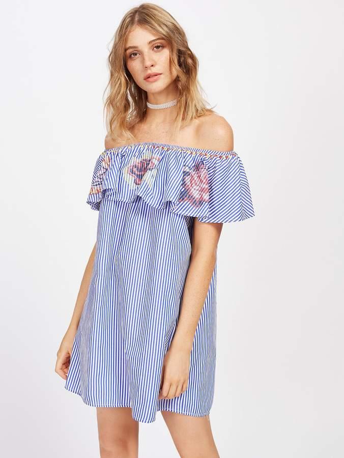 SheIn Cross Stitch Embroidery Frill Bardot Dress