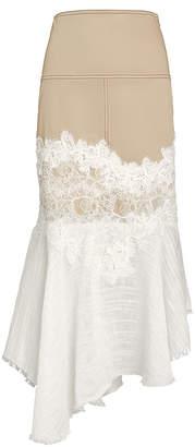 Alexis Beretti Lace-Trimmed Asymmetrical Skirt