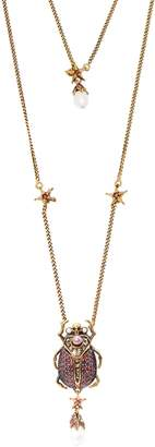 Alexander McQueen Scarab faux-pearl and crystal-embellished necklace