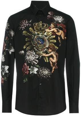 Dolce & Gabbana angel and flower printed cotton shirt