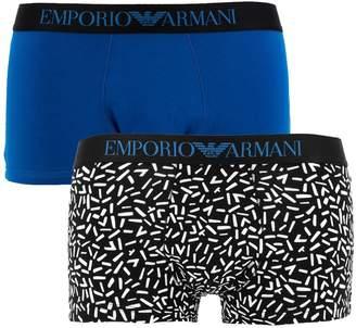 Emporio Armani Men's Fancy Pop Art Pop 2-Pack Trunk, Geometric Sticks/China Blue