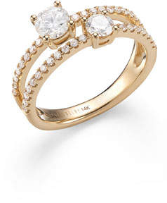 Lana 14k Gold Double Diamond Solo Ring, Size 7