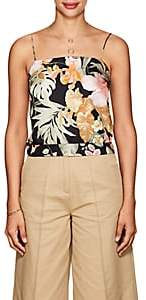 Barneys New York Women's Tropical-Floral Silk Cami - Black