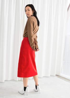 Front Slit Corduroy Midi Skirt