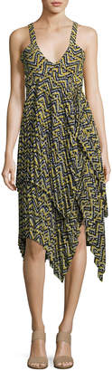 A.L.C. Kendall Sleeveless Printed Silk Dress, Yellow Pattern