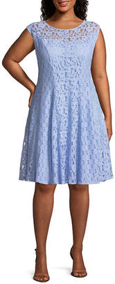 Studio 1 Sleeveless Lace Floral Fit & Flare Dress - Plus