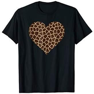 Giraffe Animal Heart Print TShirt - I Love Giraffes