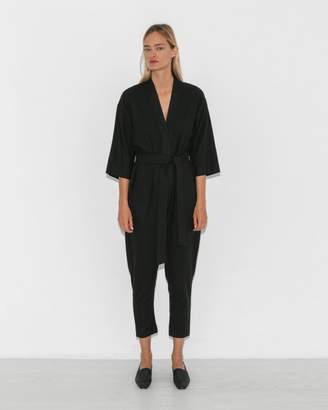 Jesse Kamm Black Long Sleeve Kimono Jumpsuit