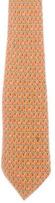 Hermes Floral Print Silk Tie