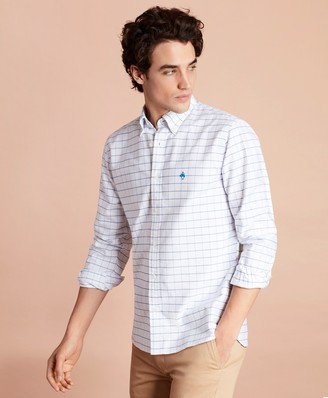 Brooks Brothers Windowpane Cotton Oxford Sport Shirt