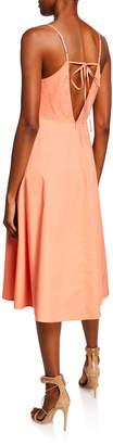 Astr Lindey Cutout V-Neck Cotton A-Line Dress