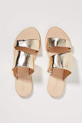 Anthropologie Classic Metallic Slide Sandals