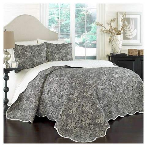 Traditons by Waverly Black Floral Paddock Shawl Quilt Set 3pc - Traditions by Waverly®
