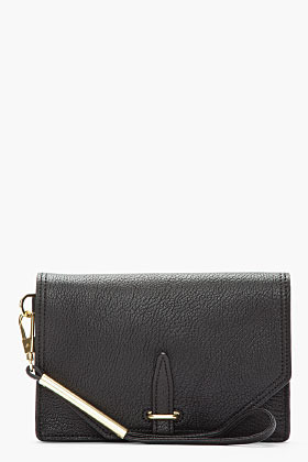 3.1 Phillip Lim Black goat leather lux grain envelope wristlet clutch