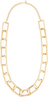 Kenneth Jay Lane Hammered Rectangle-Link Necklace