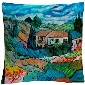 Trademark Fine Art Valley House' Tuscan Bold Abstract By Masters Fine Art 16 X 16 Decorative Throw Pillow