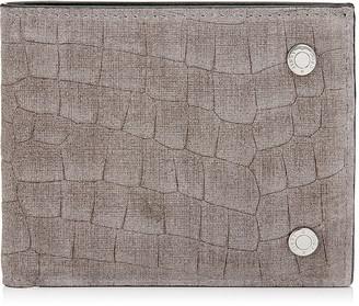 Jimmy Choo HATTON Smoke Crocodile Print Denim Leather Bi-Folding Wallet
