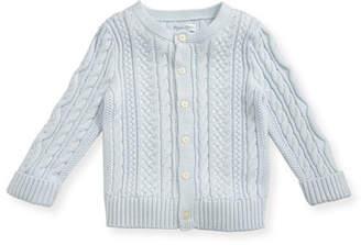 Ralph Lauren Soft Pearl Cotton Cable-Knit Cardigan, Blue, 6-24 Months