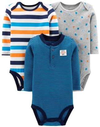 Carter's Child Of Mine By Long Sleeve Bodysuits, 3-pack (Baby Boys)