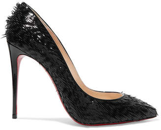 Christian Louboutin Pigalle Follies 100 Fringed Patent-leather Pumps - Black