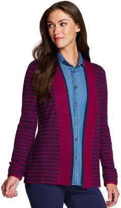 Izod Women's Striped-Trim Open Front Cardigan
