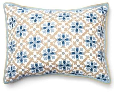 Ike Standard Pillow Sham in Blue/Taupe