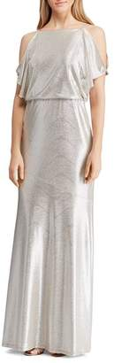 Ralph Lauren Metallic Cold-Shoulder Gown