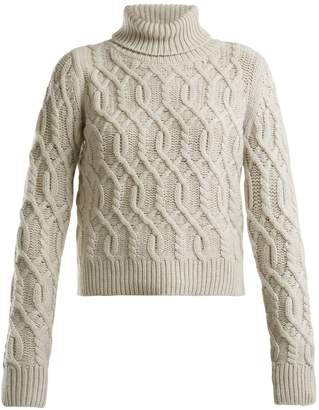 Nili Lotan Roll-neck cable-knit wool-cashmere blend sweater