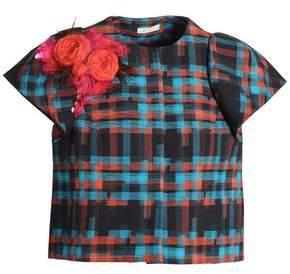 DELPOZO Floral-Appliquéd Checked Cotton-Jacquard Jacket