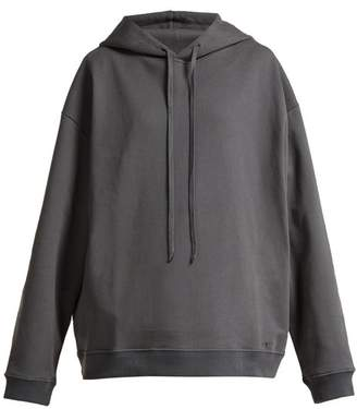 Raf Simons - Printed Cotton Jersey Hooded Sweatshirt - Womens - Dark Grey