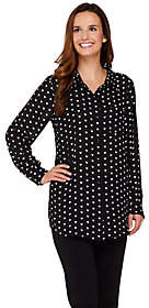 Joan Rivers Classics Collection Joan Rivers Sweetheart Print Silky Blouse
