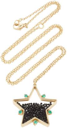 Moritz Glik 18K Gold Emerald And Black Spinal Necklace