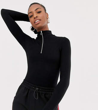 Collusion COLLUSION Tall high neck ribbed body with zip front