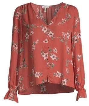 Joie Women's Bolona Silk Floral Blouse - Blush Sand - Size XXS
