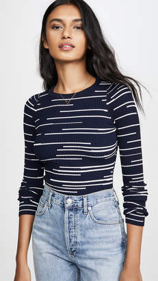 Autumn Cashmere Broken Stripe Crew Sweater