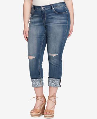 Jessica Simpson Trendy Plus Size Arrow Cuffed Jeans