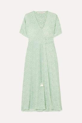 Faithfull The Brand Chiara Floral-print Crepe Wrap Midi Dress - Mint