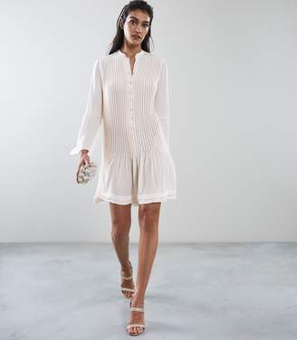 Reiss SYLVAN PLEATED SHIRT DRESS Off White