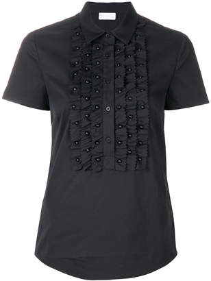 RED Valentino bead embellished frill trim blouse