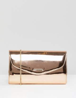 Lipsy Rosegold Metallic Clutch With Logo