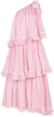 Gul Hurgel Chevron One Shoulder Maxi Dress